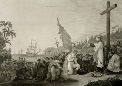 Christopher Columbus arriving in the New World